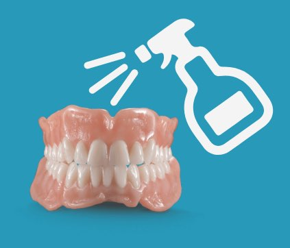 Clean and disinfect denture