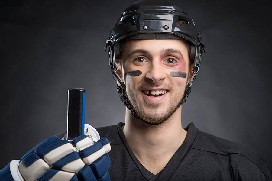 Hockey Player Missing a tooth